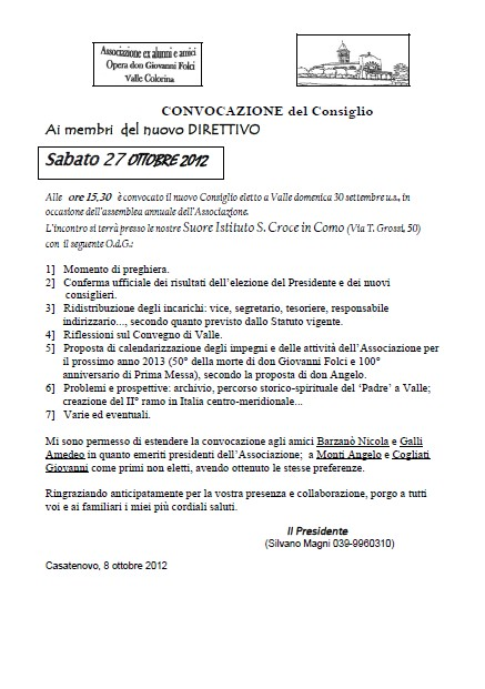 Direttivo 27 Ottobre 2012