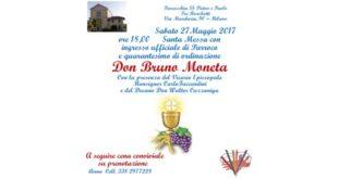 27 Maggio 2017: Quarentesimo di ordinazione Don Bruno Moneta
