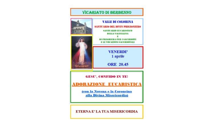 1 Aprile 2016 -  Adorazione eucaristica